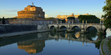 Italy  Rome  Castel Sant'Angelo Reflecting in the Tiber River