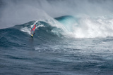 Hawaii  Maui Lone Figure Windsurfing Monster Waves at Pe'Ahi Jaws  North Shore Maui