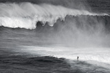 Hawaii  Maui Lone Figure Surfing Monster Waves at Pe'Ahi Jaws  North Shore Maui