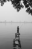 Vietnam  Hanoi Tay Ho  West Lake  Fisherman