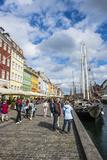 Tourists in Nyhavn  17th Century Waterfront  Copenhagen  Denmark