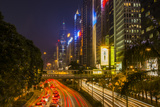Hong Kong  China Downtown Traffic   Road with Skyscrapers