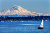 Mount Rainier Puget Sound North Seattle Snow Mountain Sailboats  Washington State