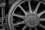 Nevada  Ely Black and White of Train Wheel