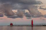 Sunrise Clouds over Lake Michigan and the Grand Haven Lighthouse in Grand Haven  Michigan  Usa