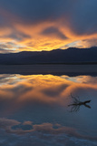 California Death Valley National Park Sunset with Reflections  Cotton Ball Basin