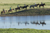 Philmont Cavalcade Ride Along Pond with Reflection  Cimarron  New Mexico
