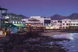 Spain  Canary Islands  Lanzarote  Playa Blanco  Seafront View  Dusk