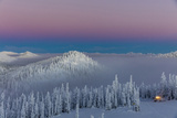 Groomer at Dusk at Whitefish Mountain Resort in Whitefish  Montana  Usa