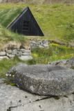 Iceland  West Fjords  Osvor Restored Fisherman's Station  Vintage Stone Wheel in Front  Fishing Hut
