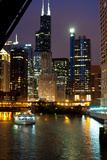Chicago River and Skyline at Dusk with Boat