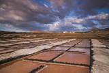 Spain  Canary Islands  Lanzarote  El Golfo  Salinas De Janubio  Salt Evaporation Pans  Sunset