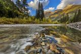 Mcdonald Creek with the Garden Wall in Glacier National Park  Montana  Usa
