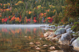 Maine  Acadia National Park  Fall Reflections with Fog at Jordon Pond