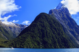 A Cruise Ship on the Waters of Milford Sound in the South Island of New Zealand