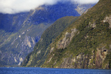 Towering Peaks and Narrow Gorge of Milford Sound on the South Island of New Zealand