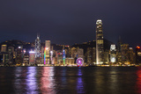 Hong Kong  China Skyline Harbor with New Ferris Wheel and Reflections   Background