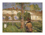 Madame Sisley on the banks of the Loing at Moret