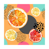 Watercolor Fresh Orange Lemon Grapefruit and Colorful Circles Seamless Pattern Exotic Fruits and A