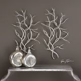 Silver Branches Wall Art Pair