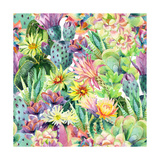Watercolor Blooming Cactus Background Exotic Cacti with Flowers Seamless Pattern Succulent Plants