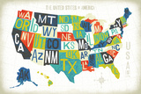 Letterpress USA Map