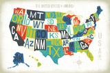 Letterpress USA Map Reproduction d'art par Michael Mullan
