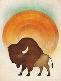 Blazing Sun Bison Reproduction d'art par Ryan Fowler
