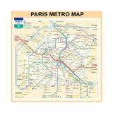 Paris Metro Map - Peach Giclée par Bill Cannon