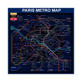 Paris Metro Map- Blue Giclée par Bill Cannon