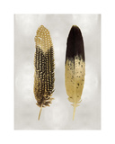 Gold Feather Pair on Silver