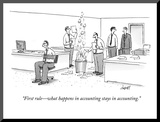 """First rule—what happens in accounting stays in accounting"" - New Yorker Cartoon"