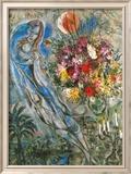 Les Amoureux en Gris, c.1960 Reproduction encadrée par Marc Chagall