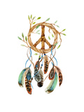 Dreamcatcher with Feathers and Peace Sign Watercolor Ethnic Dream Catcher Shaped in Peace Sign For