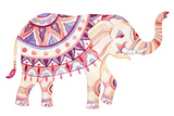 Watercolor Elephant in Bohemian Style Ornate Elephant in Pink and Purple Colors Isolated on White