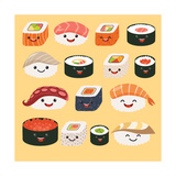 Funny Sushi Characters Funny Sushi with Cute Faces Sushi Roll and Sashimi Set Happy Sushi Charac