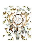 Deer Skull Seamless Pattern Animal Skull with Dreamcather and Butterfly Deer Skull and Ethnic Dre