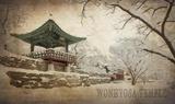 Vintage Winter at Wonhyosa Temple  Korea  Asia