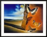 Landscape with Butterflies Reproduction encadrée par Salvador Dalí