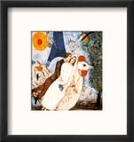 Les Fiancees de la Tour Eiffel Reproduction encadrée par Marc Chagall
