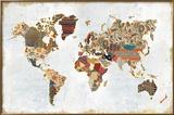 Pattern World Map Reproduction encadrée par Laura Marshall