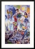 On the Roof of Paris Reproduction encadrée par Marc Chagall