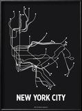 New York City (Black & Pearl White) Reproduction encadrée par LinePosters