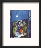 Lovers in Moonlight Reproduction encadrée par Marc Chagall