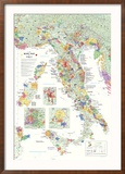 Italy Wine Map Poster Poster encadré
