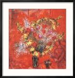 Fleurs Sur Fond Rouge, c.1970 Reproduction encadrée par Marc Chagall