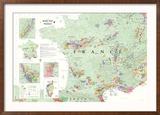 France Wine Map Poster Poster encadré
