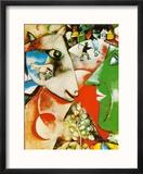 I and the Village, c.1911 Reproduction encadrée par Marc Chagall