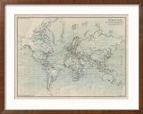 Ocean Current Map I Reproduction encadrée par The Vintage Collection