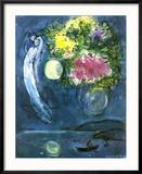 Lovers avec Bouquet, c.1949 Reproduction encadrée par Marc Chagall
